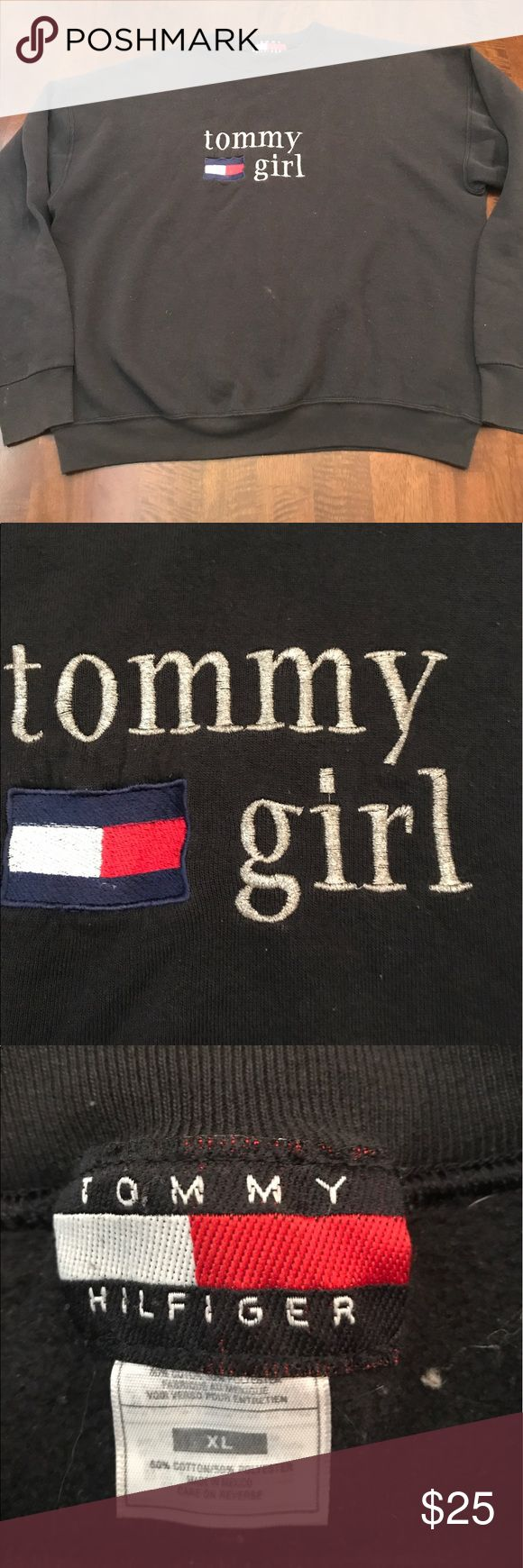 Tommy Hilfiger crew neck sweater. Tommy girl The sweater is faded, there is a white mark on the front (picture #4 Tommy Hilfiger Sweaters Crew & Scoop Necks