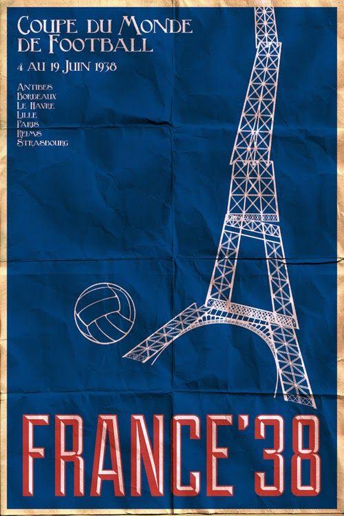 Poster mundial de fútbol. Francia 1938 #FIFA #Mundial #Fútbol #Diseño http://creativittaagencia.blogspot.com/2014/07/posters-world-cup-1930-2014.html