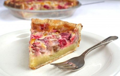 Rhubarb-Raspberry Cream Pie..   .made this for mother's day yum!  used strawberries instead of raspberries and coconut milk instead of cream.