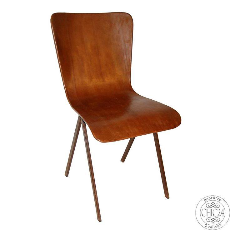 Stuhl Leder braun stabelbar - chic24 - Vintage Möbel und Industriedesign Lampen…