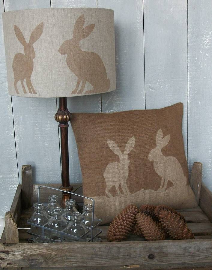Irish linen 'Country Hare' print lampshade is handmade and hand printed in the UK