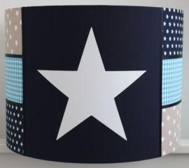 Jongenslamp donkerblauw - turquoise - zandkleur