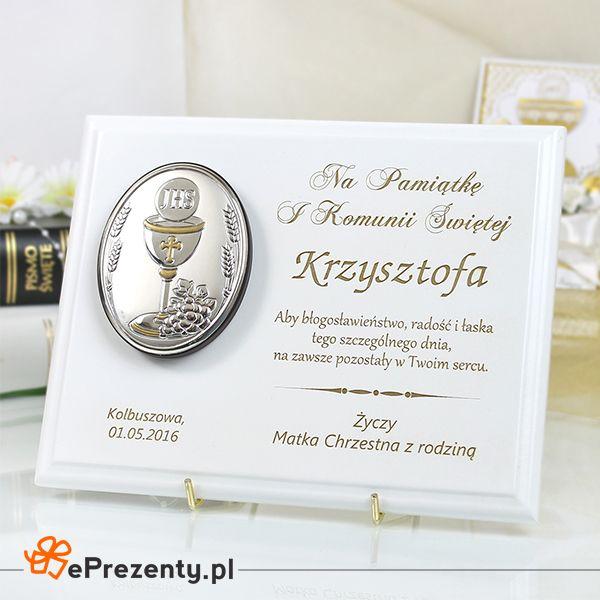 Obrazek w drewnie z Twoimi życzeniami na pamiątkę I Komunii Św.  http://bit.ly/1Vbe1ZU