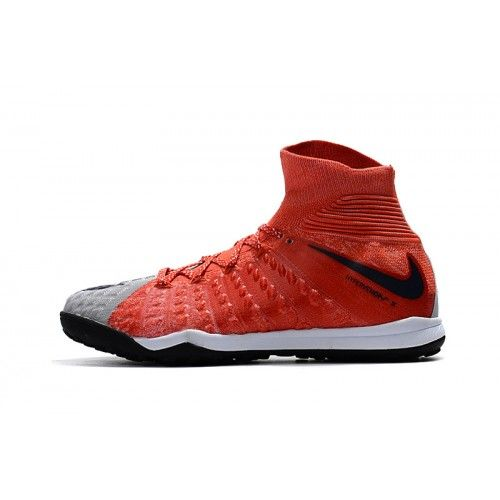 Baratas Nike Hypervenom Phantom III DF TF Gris Rojo Zapatos De Futbol
