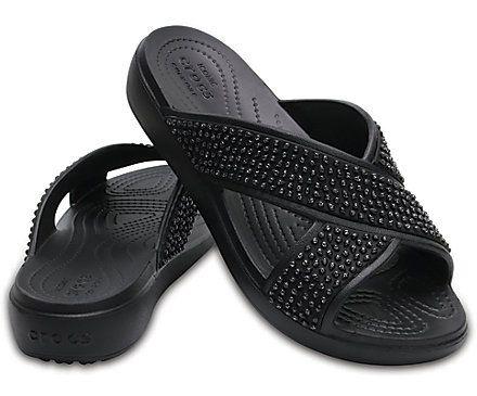 Women's Crocs Sloane Embellished Cross-Strap Sandals - Pair