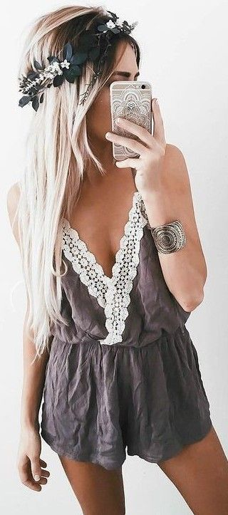 #summer #girly #outfits | Cute Little Playsuit