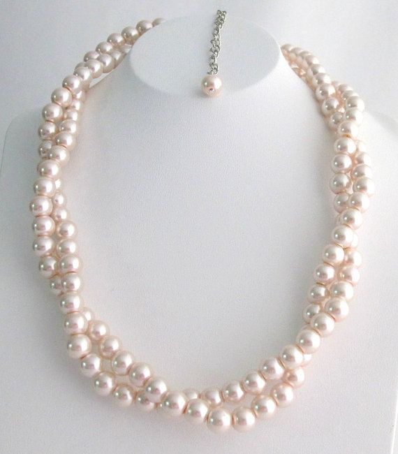 Blush Pink Pearl Necklace Twisted Pearl Necklace Baby Pink Pearl Necklace Bridesmaid Flower Girl Wedding Necklace Free Shipping In USA