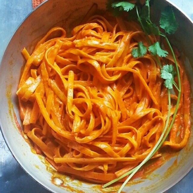 "Butternut ""pasta"" w roasted red poblano crema #MexicanEverydayVol2"