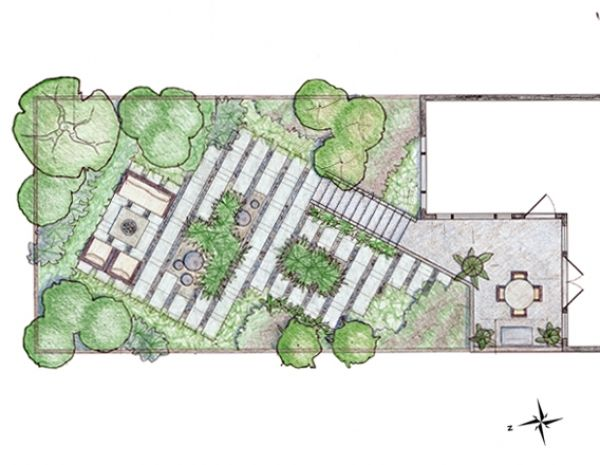 Backyard Landscape Design Plans backyard architecture plansarchitecturehome plans ideas picture landscape architect design garden plans backyard water 44445760 landscape architect design Good Use Of Diagonal Lines At 62 Degrees To Add Illusion Of Length And Varied Planting Pockets Arterra Landscape Architects