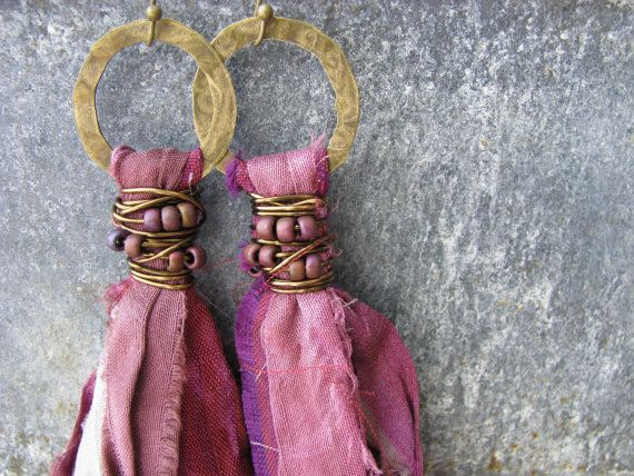 Sari silk tassel earrings, bohemian jewelry, fair trade recycled sari silk, textile jewelry, long shoulder dusters, indie, aubergine, plum