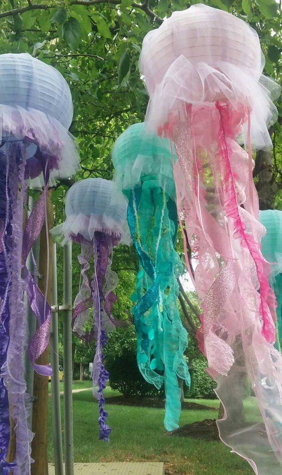 Quallen Laterne hängen Dekoration rosa, lila oder Aqua für unter dem Meer Party, kleine Meerjungfrau Party etc. eine Laterne pro Menge