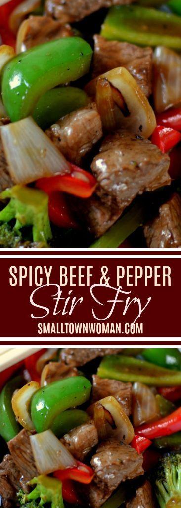Spicy Beef Pepper Stir Fry ist ein gesundes Abendessen voller roter und grüner …