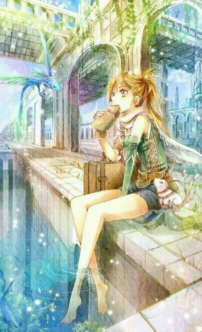 Anime art. Anime girl with blonde hair