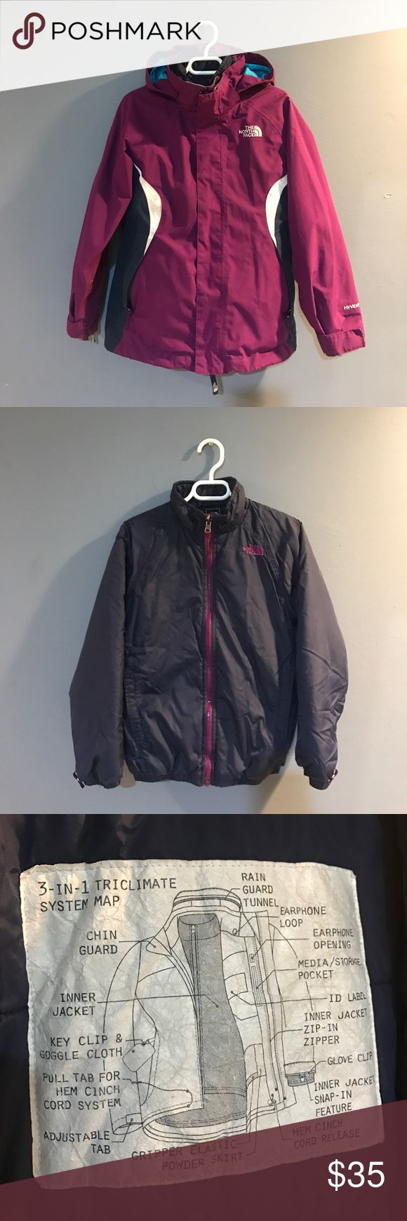 Kids THE NORTH FACE 💟 Little Girls North Face, kept in pretty good condition, very small little tears in right sleeve, inner jacket, inner jacket snap in feature, storage pockets, glove clips, detachable hood, rain guard on hood, kept my daughter very warm during those winter days ❄️🌬 The North Face Jackets & Coats
