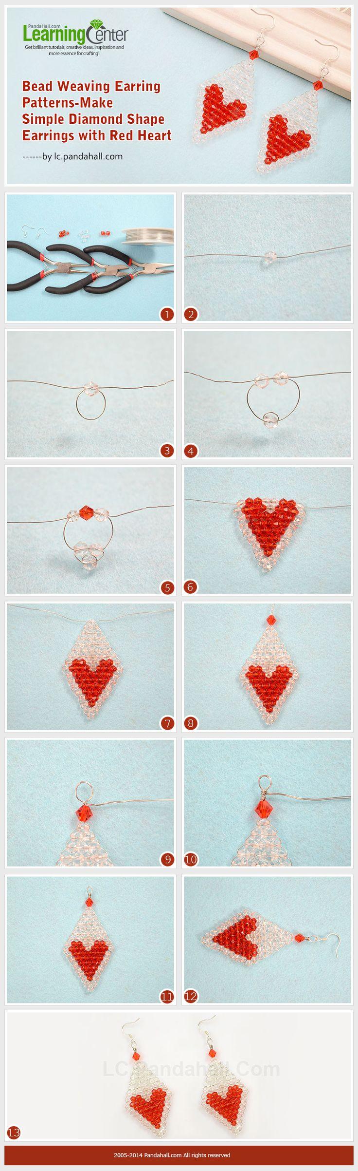 Bead Weaving Earring Patterns-Make Simple Diamond Shape Earrings with Red Heart