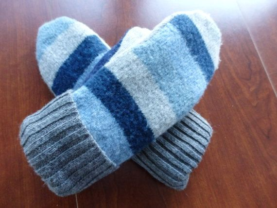 Mittens Wool Mittens Sweater Mittens Striped Mittens by SewCat