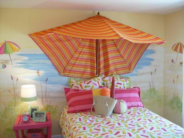 Fabulous Small Bedroom Decorating Ideas for Girls: Fabulous Small Bedroom Decorating Ideas For Girls Also Tropical Canopy Bed Theme With Adorable Beach Wall Painting Also Small Pink Table With Cool Long Pink Pillow And Pink Pillowcase ~ kaliopa.com Bedroom Design Inspiration