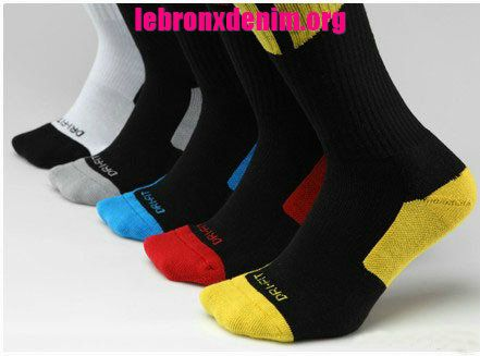 Jordan AJ Dri-Fit Crew Sock Mens 5 Piece Pack [Lebron X Denim 258]