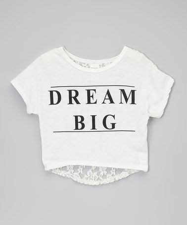 Look at this #zulilyfind! White 'Dream Big' Lace-Back Crop Top - Toddler & Girls #zulilyfinds