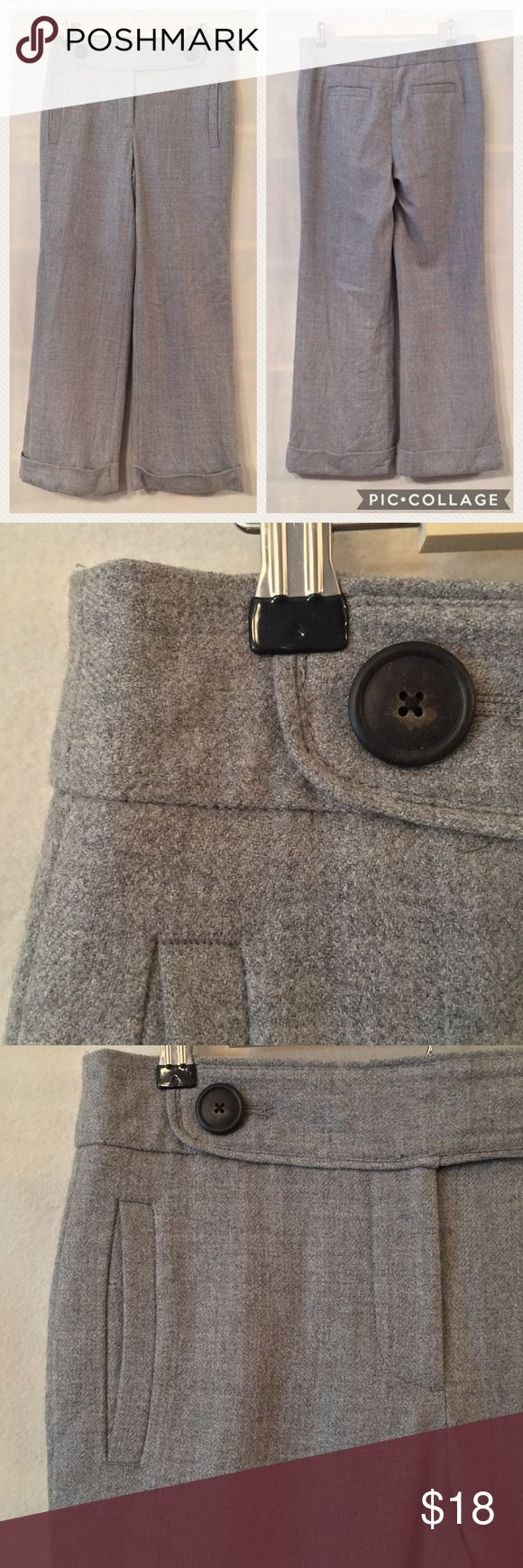 "J. Crew heather grey wool herringbone trousers EUC. No stains or holes. J. Crew herringbone university wide legged cuffed trousers in heather grey. Favorite fit. Sits below waist. Fitted through hip and thigh with a wide leg. Fully lined. Decorative button on right side, functional button on left. Vertical welt front pockets.  Back welt pockets. 100% wool. 100% polyester lining. Measurements (flat): waist 15"", hip 19"" rise 10"", thigh 11"", inseam 30"". Style 86603. Dry clean. No trades. J…"