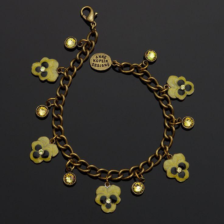 Kappa Alpha Theta Yellow Pansy Charm Bracelet | Anne ...