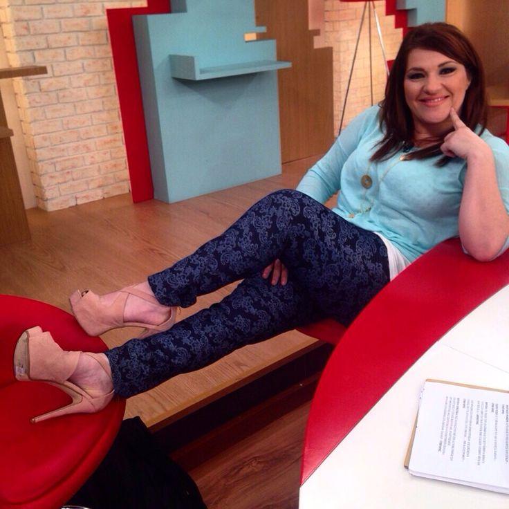 Katerina Zarifi wearing Celestino Jeans