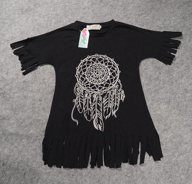 Hot Fashion Toddlers Girls Kids Boho Wild Fringe Tassel Dress Casual Soft  Cotton Printed Children Clothing