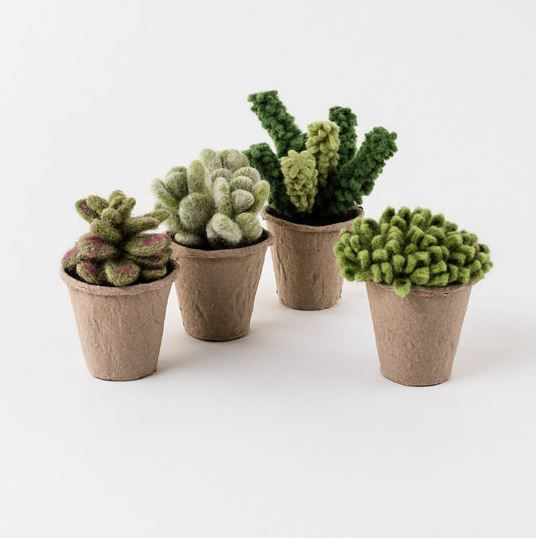 Set of 4 Felt Potted Succulents   Tansy Products