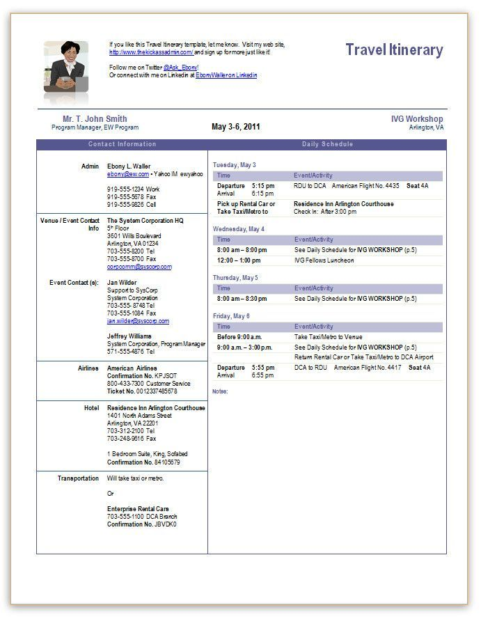 Image Result For Executive Assistant Travel Itinerary Template