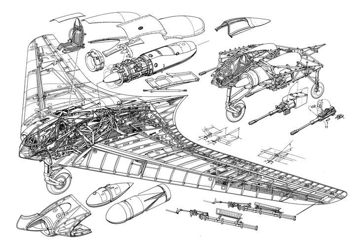 Cool line drawing illustrating the design of the Ho229