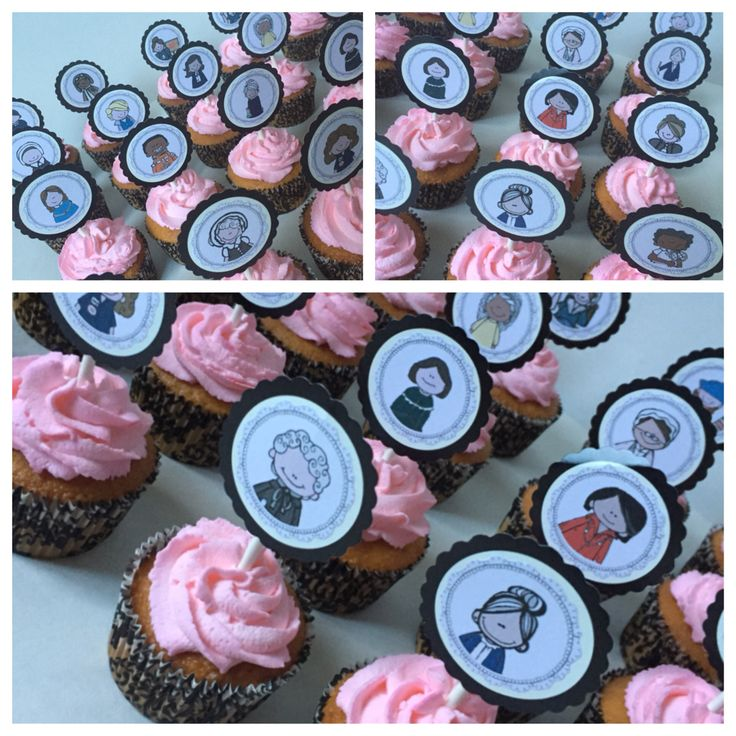 Baby Showers History ~ Powerful women in history theme baby shower cupcakes