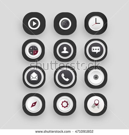 Icon set with black color can be used on mobile phone.