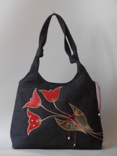 Custom-designed bag with tulips