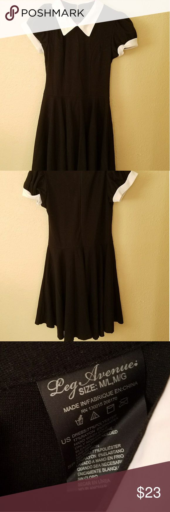 Leg Avenue dress Black dress with white collar and sleeves, bought,  but never worn. leg avenue Dresses Mini