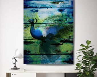 "Peacock. Extra Large Blue Rustic Peacock Canvas Art Print up to 72"" by Irena Orlov, Large Peacock Canvas"