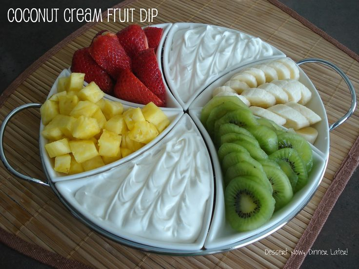 Coconut Cream Fruit Dip. 3 ingredients: Cream of Coconut, Cream Cheese, & Cool Whip! Sounds yummy!