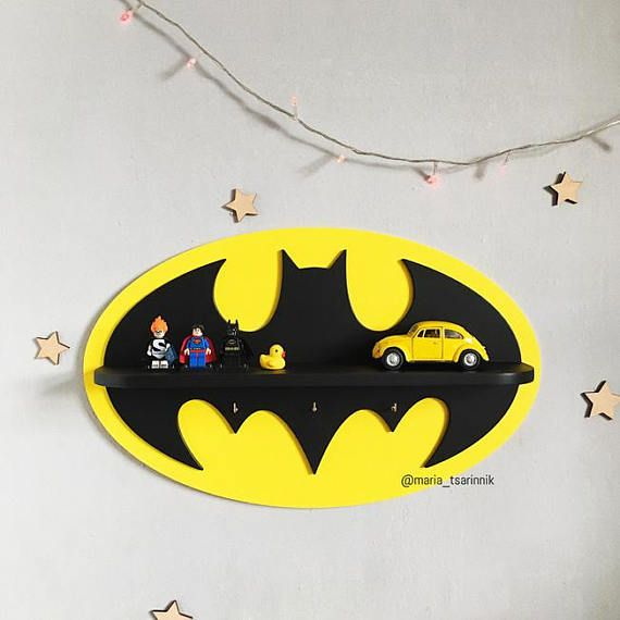 Shelf Batman. Superhero Logo. Wall for boys bedroom DIMENSIONS: height - 30,6 cm (12 inches) width - 49,5 cm (19.5 inches) depth - 8,9 cm (3.5 inches) If you need a different size or color, i can do it)) Ideal for children or fans of comic book characters. You can hang it on the wall