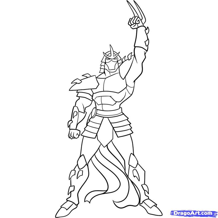 Ninja Turtles Coloring Pages | how to draw shredder, teenage mutant ninja turtles step 10