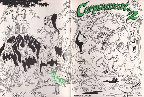Covers from the two different versions ofCorpsemeat Comix #2....  Covers from the two different versions ofCorpsemeat Comix #2. The top artist is unknown but the bottom color cover is by the French artist Michel Pirus. Theres a great write-up about this super rare comic here. Id love to see a copy irl.