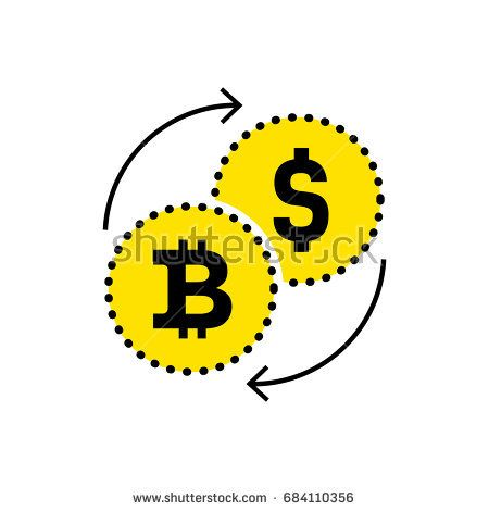 Абстрактный знак доллара на биткойн обмена значок.  Плоский дизайн.  Векторная иллюстрация изолированный белый фон для веб-сайта или приложения и т. Д.