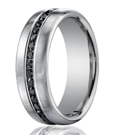 Designer Platinum Ring | 36 Channel Set Black Diamonds