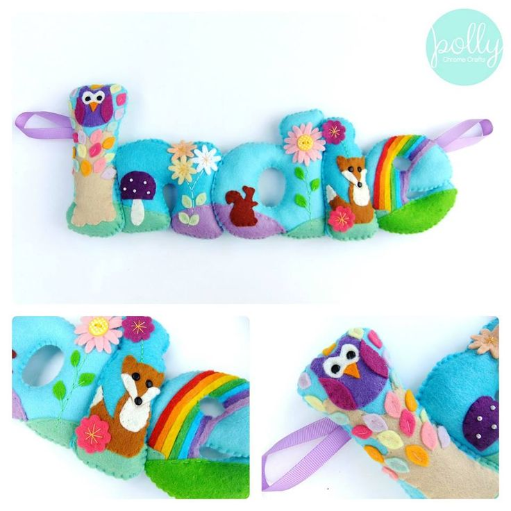 Bright woodland themed Indie stuffed felt Name Chain / banner / garland.  https://www.facebook.com/photo.php?fbid=632439856778364&set=pb.260432017312485.-2207520000.1378806683.&type=3&theater
