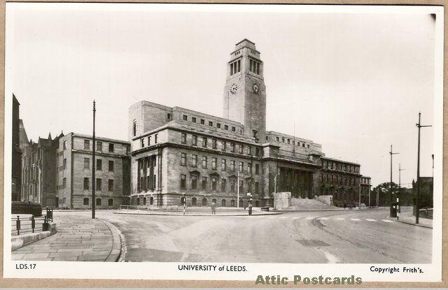 Vintage real photo postcard of Leeds University in Leeds, Yorkshire, England.