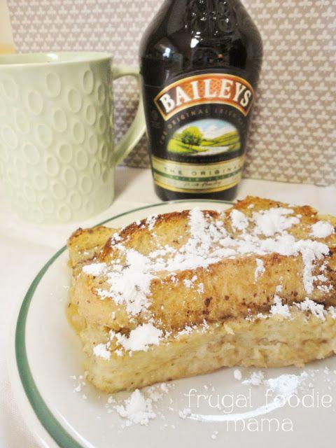 Irish Coffee French Toast Casserole from Frugal Foodie Mama- make ahead the night before #Irishcream #coffee #frenchtoast