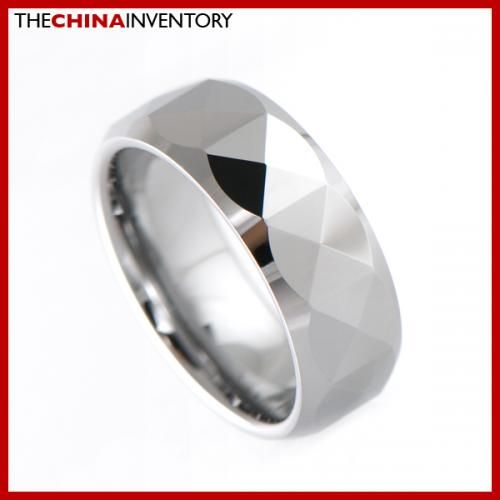 8MM SIZE 9.5 FACETED TUNGSTEN CARBIDE BAND RING R1906