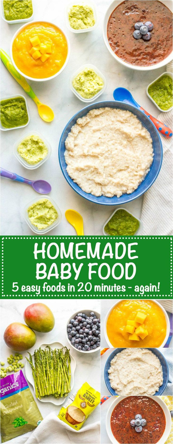 Homemade baby food barley asparagus edamame blueberries and mango