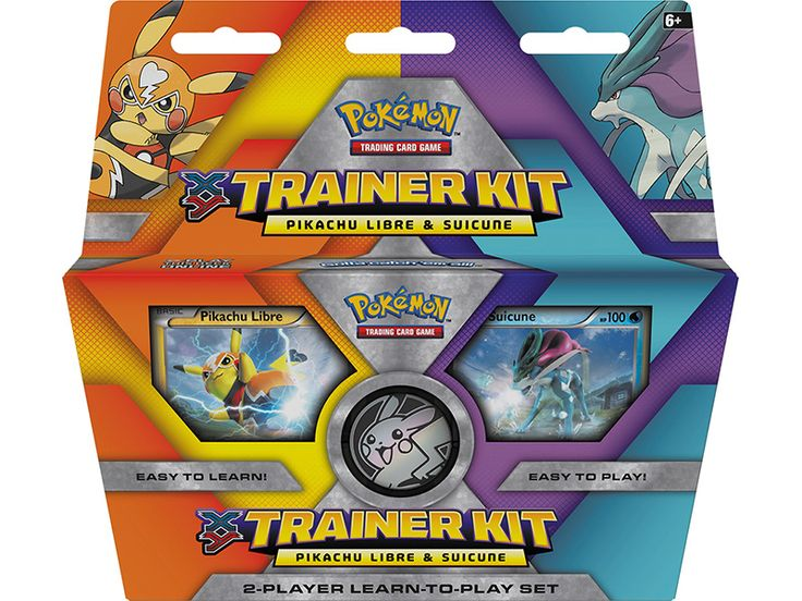 Pokemon Tcg Xy Trainer Kit Pikachu Libre And Suicune This step-by-step Trainer Kit includes: • Two 30-card decks, each with a specially selected foil card • Two guided game booklets to teach you how to play—card by card, step by step! • 2-player playmat with great game tips and rules on the reverse side • Damage counters and Special Condition markers • A game coin with a cool Pokémon design • An illustrated deck box to keep your new cards in • A code card for the Pokémon TCG Online!