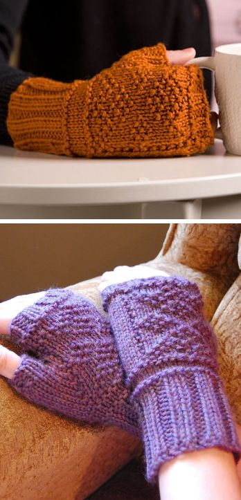 Free Knitting Pattern for Gansey Diamond Mitts - Fingerless mitts feature a Gansey inspired stitch pattern of purl stitches on a stockinette field. Designed by Kerin Dimeler-Laurence. Pictured project by Chimona