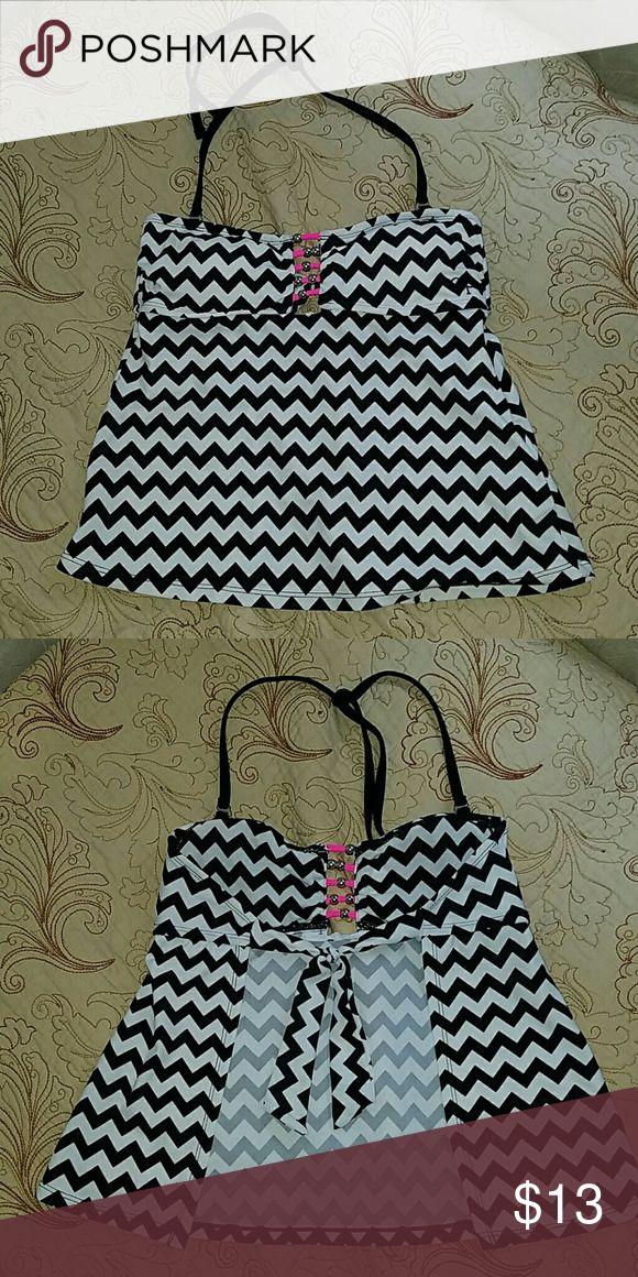 Black and white chevron tankini top Super cute tankini top, worn about twice. Great condition. Fits sizes 3-5 OP Swim Bikinis