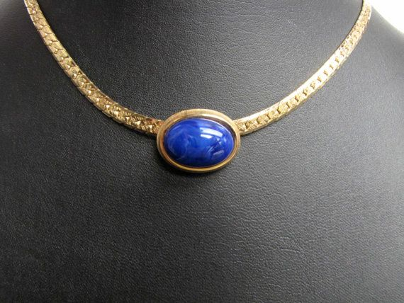 Gold Herringbone Chain Blue Marbled Slide from DixieVintageShoppe